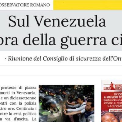 L'Osservatore Romano: temor por una guerra civil en Venezuela. La ONU se reúne