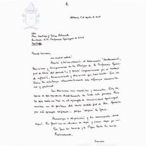El Papa envía carta al Episcopado chileno y apoya sus decisiones para contrastar abusos